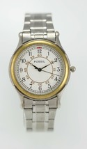 Fossil Watch Mens Stainless Steel Silver Gold Water Resist Battery White... - $35.13