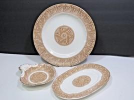 3 Pieces Antique Royal Worcester Brown Transferware 1854 Plates Bon Bon ... - $89.10