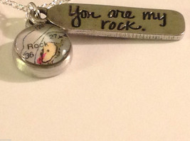 You are my rock charm pendant necklace  hand made in USA