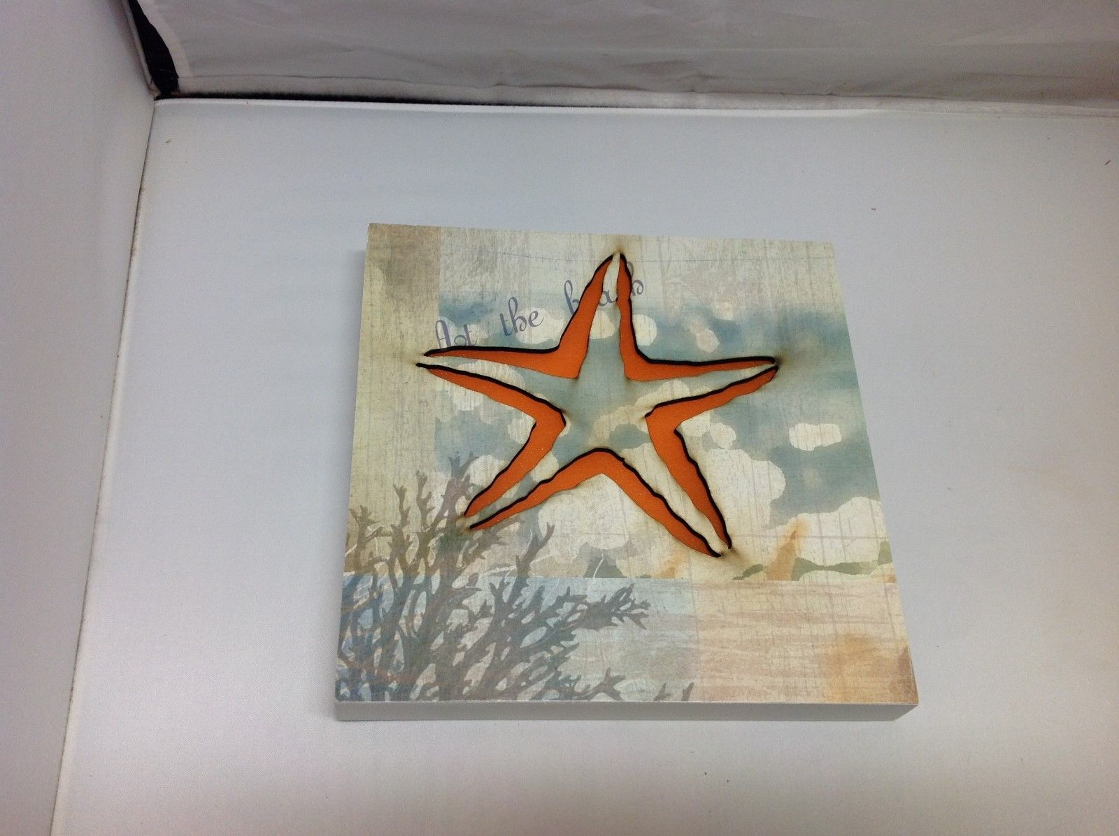 Battery Powered Wooden Backlit Orange Starfish Hanging Wall Decor