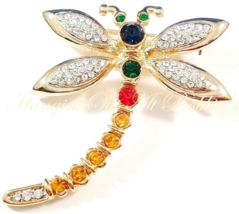 Dragonfly Pin Brooch Multicolor Crystal Gold Tone Metal Spring Summer Theme - $15.99