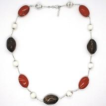 Silver necklace 925, jasper, turquénite, smoky quartz, oval chain image 1
