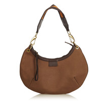 Vintage Gucci Brown Light Canvas Fabric Shoulder Bag Italy - $340.34
