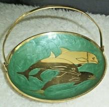 Brass Dolphin Trinket Tray Candy Dish Hinged Handle Swirly Enamel Nautic... - $19.79