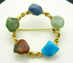 Multi-Color Polished Gemstone Circle Wreath Gold Tone Vintage Pin Brooch - $19.79