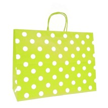 LARGE GREEN GIFT BAGS WITH WHITE POLKA DOTS SET OF 6 BAGS BY SPRITZ NEW - $13.85