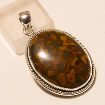 Natural Picture in Foil Jasper Gemstone 925 Sterling Silver Jewelry Mens Pendant - $16.92