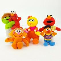 Vintage Tyco Sesame Street Plush LOT 6 Ernie Zoe Elmo Baby Big Bird Osca... - $19.26