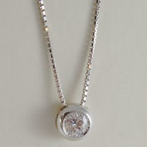 18K WHITE GOLD NECKLACE WITH DIAMOND 0.31 CARATS, VENETIAN CHAIN MADE IN ITALY image 1