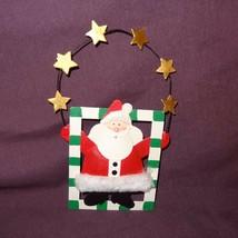 Santa Claus Ornament Metal Whimsy Stars Square Door Hanger Christmas Hol... - $10.67