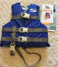 NEW Stearns Boys Blue Gray Child Life Jacket 30-50 Lbs 3 Buckles Leg Strap - $16.93
