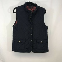 British Khaki Womens Quilted Vest Navy Blue Zip Up Snaps Lined Mock Neck XL - $21.77