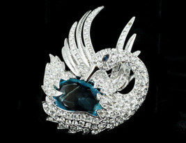 "Vintage Nolan Miller Simulated Aquamarine & Diamond Swan Brooch Pin 3"" - $89.99"