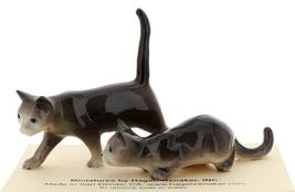 Hagen-Renaker Miniature Ceramic Cat Figurine Gray Cats Walking and Stalking Set