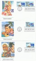 3 FDC FIRST DAY COVERS USPS COMPACTS FREE ASSOC MARSHALL MICRONESIA PACI... - $9.90