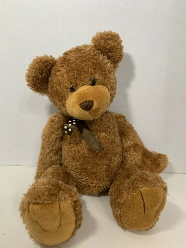 Primary image for Toys R Us teddy bear brown plush toy polka dot glitter ribbon bow 2010 Geoffrey