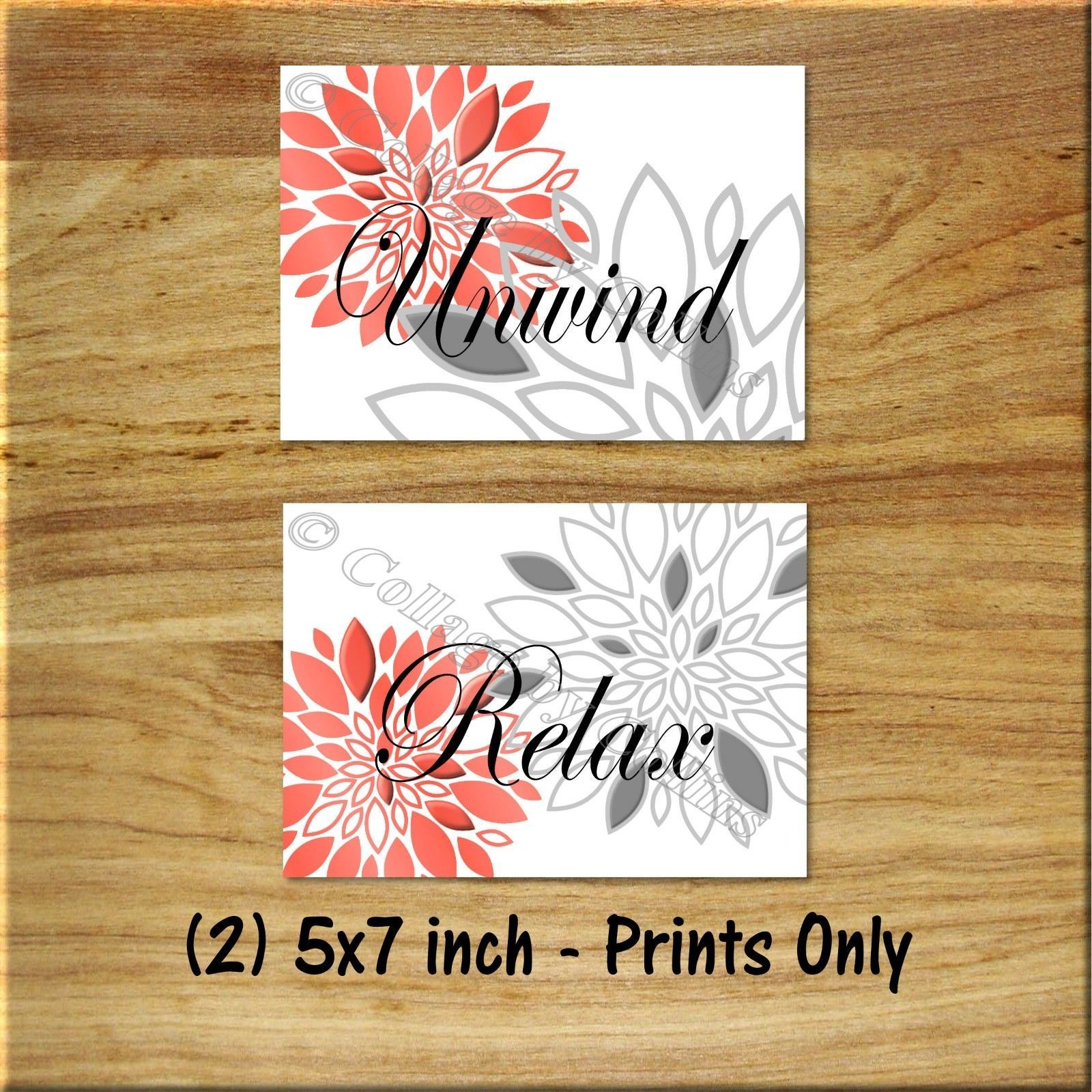 Primary image for Coral Gray Bathroom Wall Art Picture Prints Decor Floral Unwind Relax (2) 5x7""