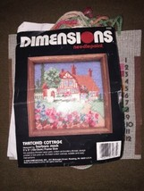 """Dimensions Thatched Cottage Needlepoint Barbara Mock Partially Completed 5""""x5"""" - $19.79"""