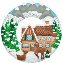 Bucilla Winter Cabin Deer Lodge Christmas Decoration Wreath Felt Craft Kit 86948 - $52.95