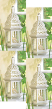 Four (4) white metal clear glass moroccan hurricane candle holder lanter... - $35.00