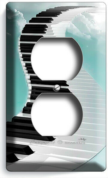 GRAND PIANO KEYS STAIRS TO SKY CLOUDS OUTLET PLATES JAZZ MUSIC STUDIO ROOM DECOR