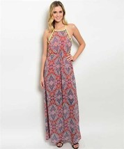 New Large Maxi Dress With Halter Style And Yellow Hardware Design On Chest - $14.89
