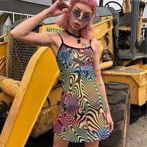 BOOFEENAA Multicolor Print Mesh Bodycon Dress Sexy Club Wear Harajuku Womens Dr - $21.94