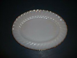 Vintage Anchor Hocking Fire King Swirl Golden Shell Luster 13 Oval Platt... - $19.79