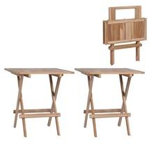 vidaXL 2x Solid Teak Wood Folding Bistro Tables Outdoor Garden Dining Table - $93.99