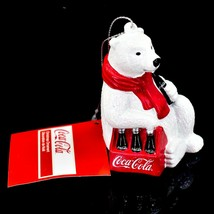 "Kurt S. Adler Coca-Cola Glitter Polar Bear w Coke Case 3.5"" Christmas Ornament image 2"