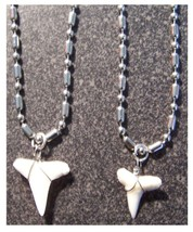 """2 STAINLESS STEEL 24"""" BALL CHAIN NECKLACE W SHARKS TOOTH PENDANT fashion... - $9.02"""