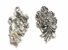 BOUQUET OF ROSES FINE PEWTER PENDANT CHARM - 10x21x6mm image 2
