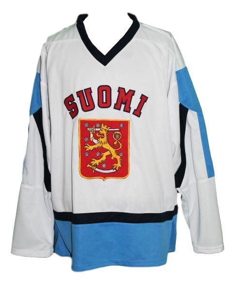 Custom team finland hockey jersey white   1