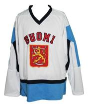 Custom Name # Team Finland Retro Hockey Jersey New Sewn White Any Size image 1