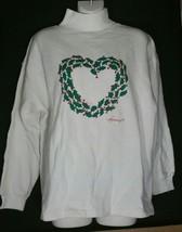 Vintage Talbots Ugly Christmas Large L Sweatshirt Holiday Holly Heart - $14.84