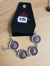 Paparazzi Bracelet(New)Silver Flowers W/ Pink Gems 283 - $7.61