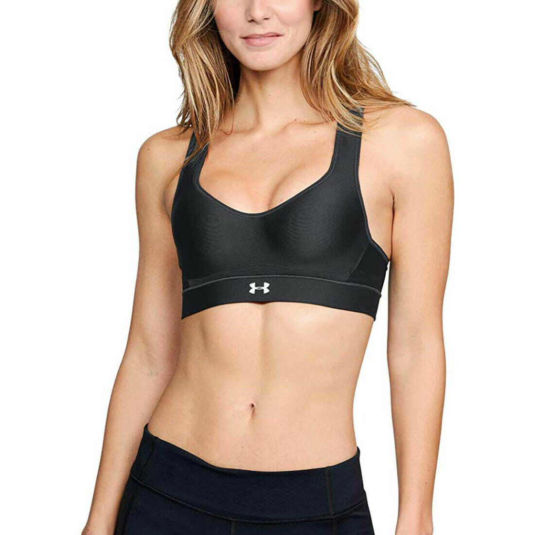 Primary image for Under Armour Warp Knit High Impact Sports Bra, Black (001)/Reflective, 34DD