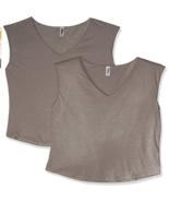 Marky G Apparel Women's Festival Sleeveless V (2 Pack) Neck T-Shirt Ash ... - $14.47