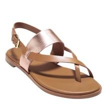 Cole Haan Women's Anica Thong Sandal Flat, Pecan/Rose Gold/Metallic, 9 B US - $173.42