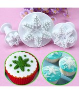 3PC Snowflake Fondant Cookie Cutter Cake Plunger(WHITE) - $8.68