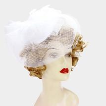 Feather embellished mesh veil fascinator - $39.00