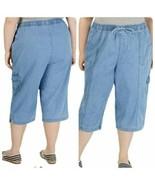 Karen Scott women plus size 3x Edna cotton pull on capri pants Horison wash - $24.75
