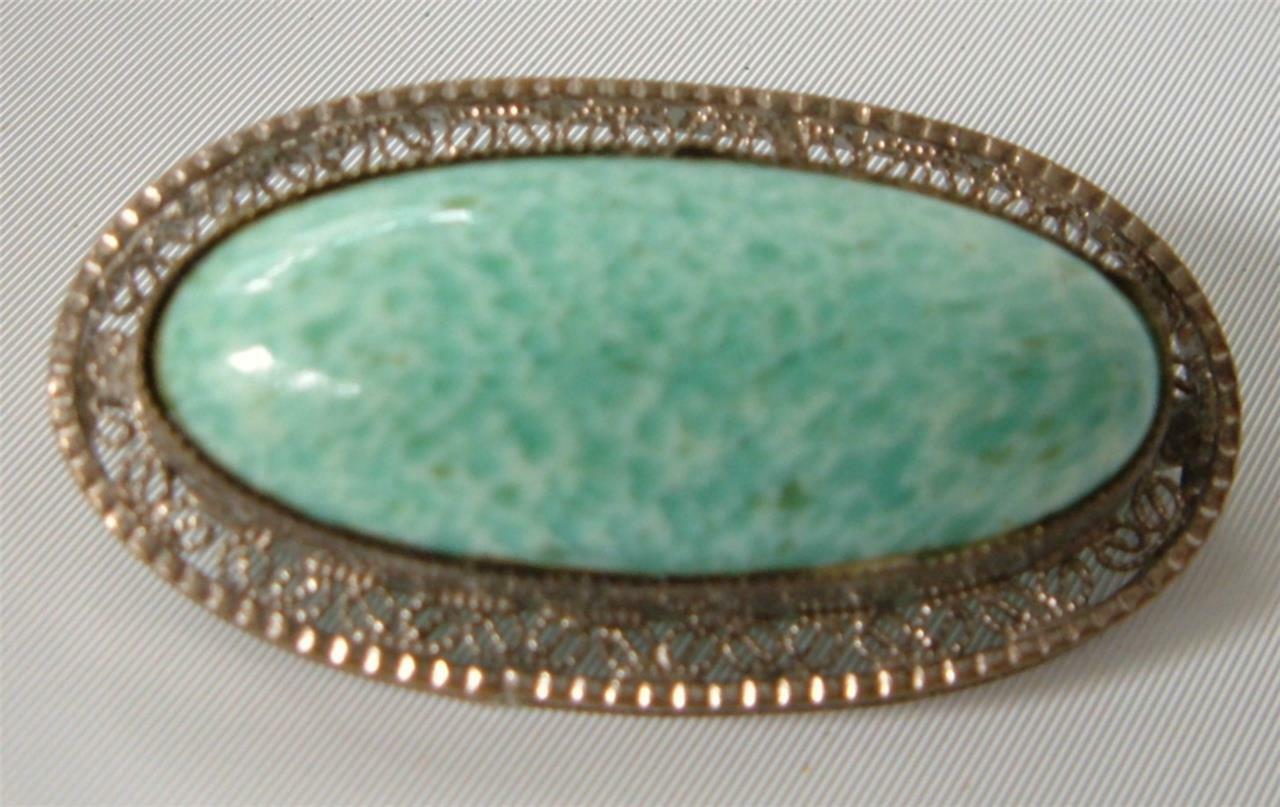 8a3bdb7c0 S l1600. S l1600. Previous. Vintage Art Deco Filigree Czech Glass Brooch Pin  Turquoise Silver Rhodium Peking