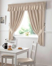 Gingham Check Cream Beige Kitchen Curtains Drapes W46 X L42 Tiebacks Included - $17.72
