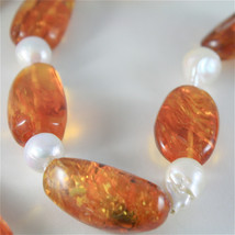 SOLID 18K YELLOW GOLD NECKLACE WITH DROP PEARLS AND BALTIC AMBER MADE IN ITALY image 2