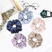Mommesilk Silk Hair Scrunchies Set of 5 Pieces Ponytail Holder Elastic B... - $18.97