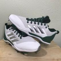 New Adidas Mens B39191 White,Silver Dark Green Baseball Cleats Size 12 - $37.74