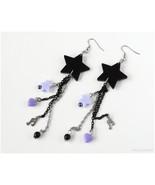 Pastel Goth Star Earrings, Very Long, Black, Purple, Lavender, Visual Kei - $19.00