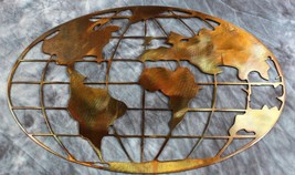 """Metal Art World Map 40"""" wide copper and bronze plated metal wall art decor - $179.98"""