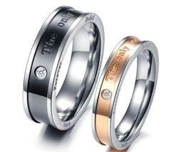 2PCS Eternal Love Titanium Stainless Steel Ring Couple Promise Engagemen... - $362,43 MXN